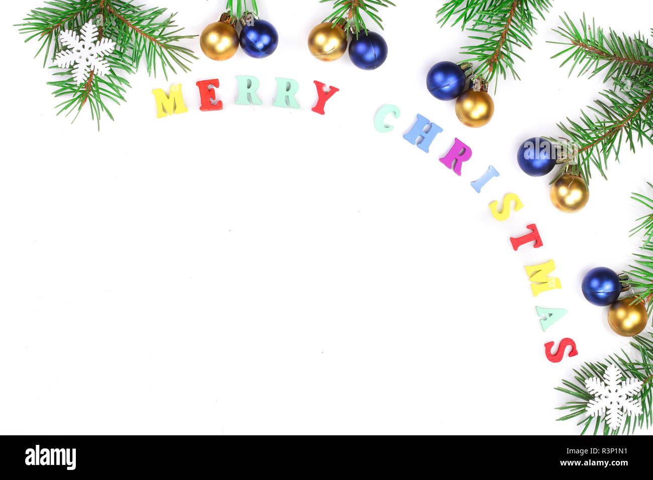 Frohe Weihnachten Rahmen.Frohe Weihnachten Beschreibung Im Rahmen Aus Tannenzweigen Auf