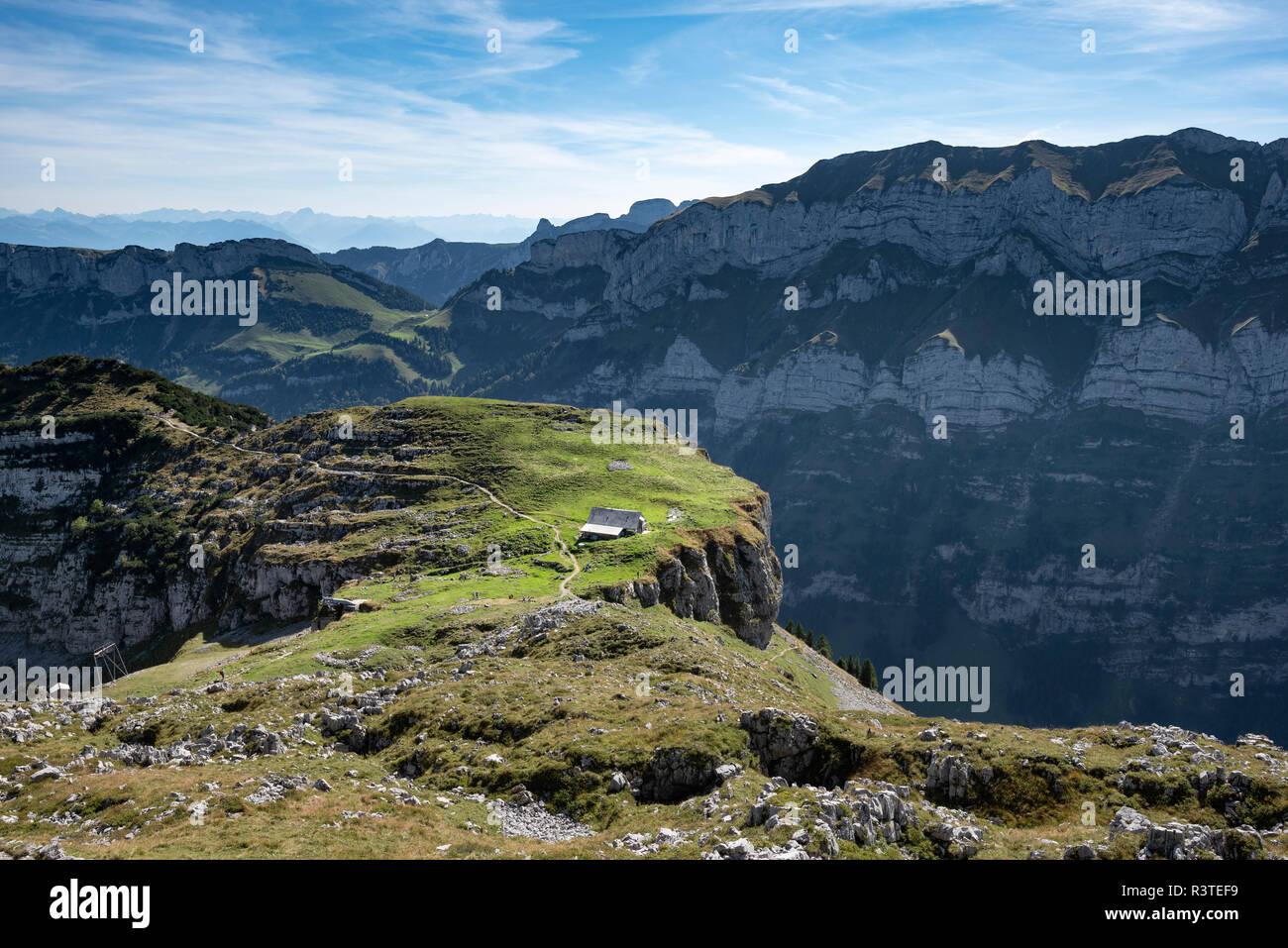 Schweiz, Appenzell, Alp Chlus auf Zisler Berg in die Appenzeller Alpen Stockbild