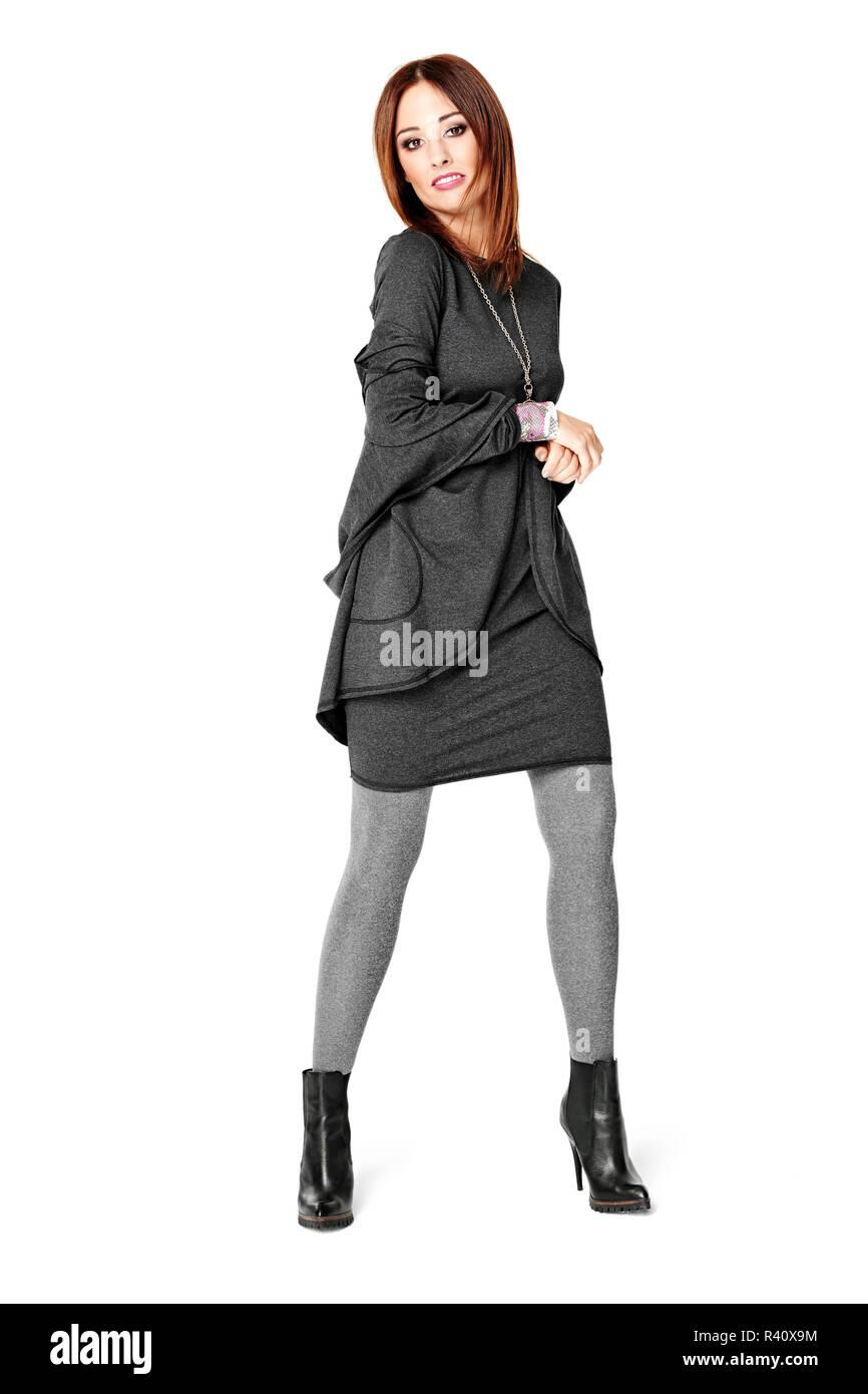 6272cfa545b Beautiful Girl In Gray Leggings Stockfotos   Beautiful Girl In Gray ...