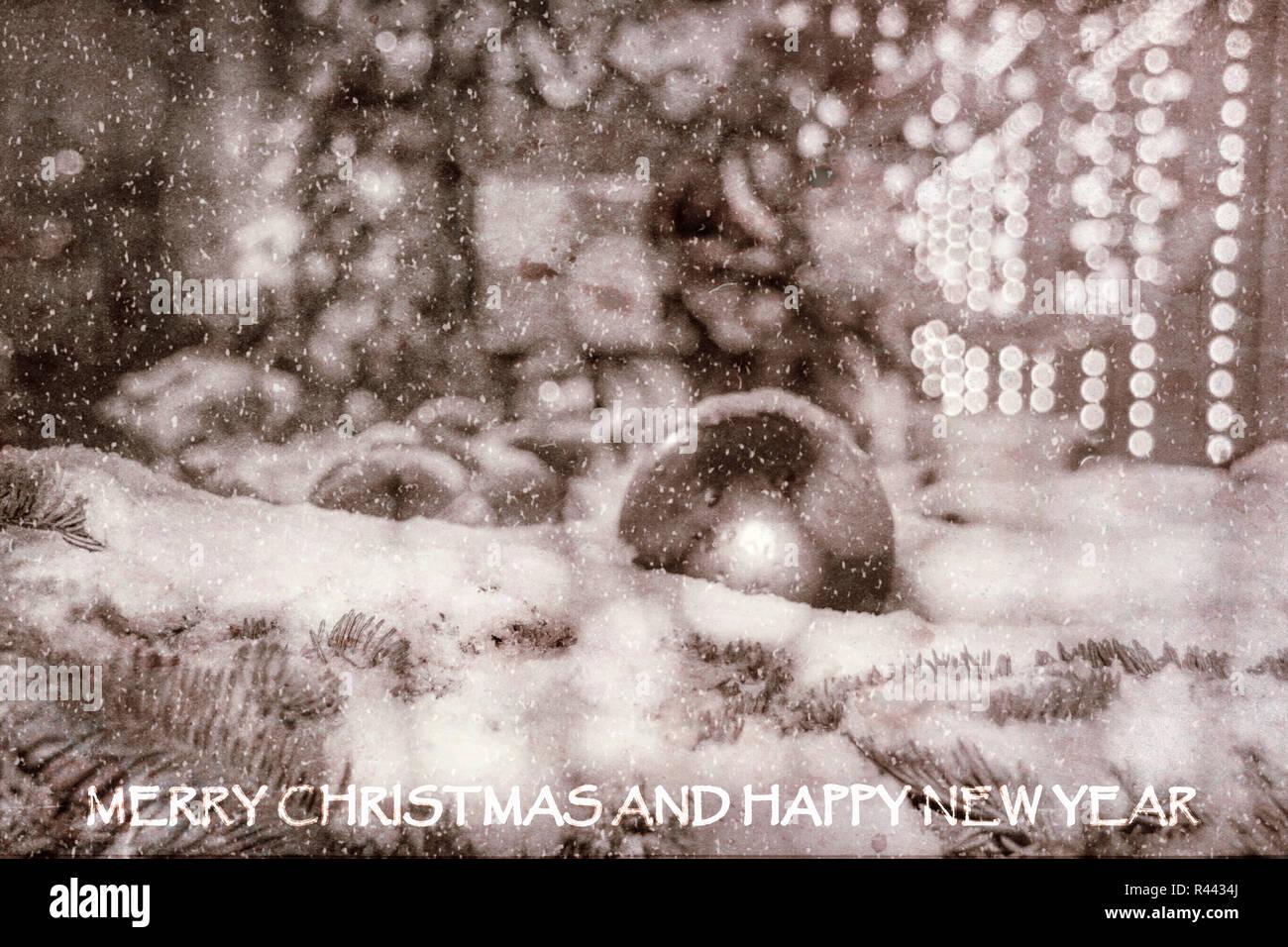 Black White Christmas Card Merry Stockfotos Black White Christmas