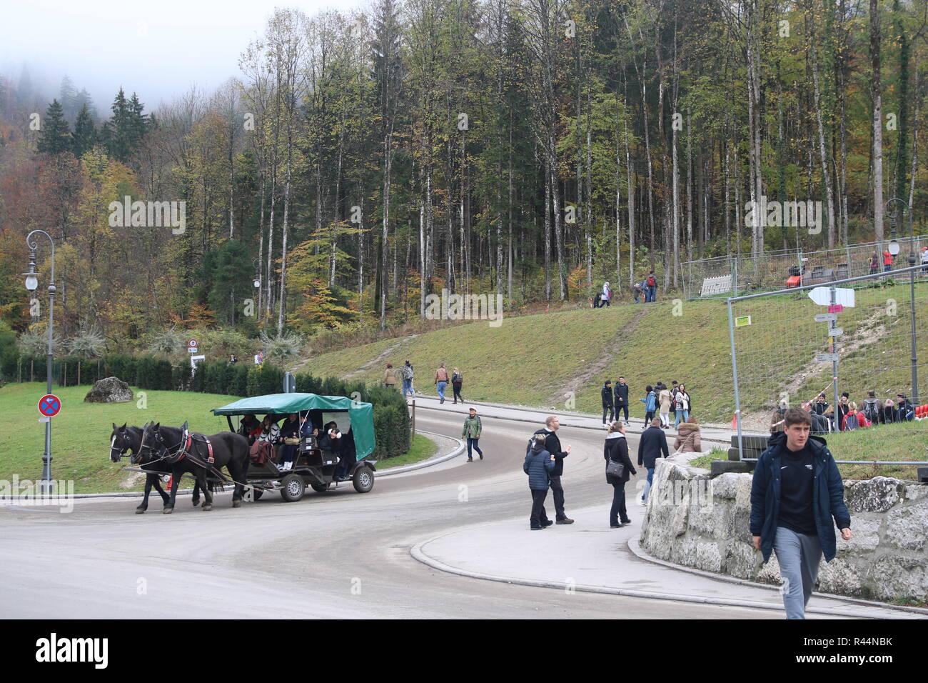 Schloss Neuschwanstein Kutsche reisen, München Bayern Deutschland Bayerische Konzept, Dinge zu tun, Touren, Pferde, Kutsche, Touristen zu erkunden Stockfoto