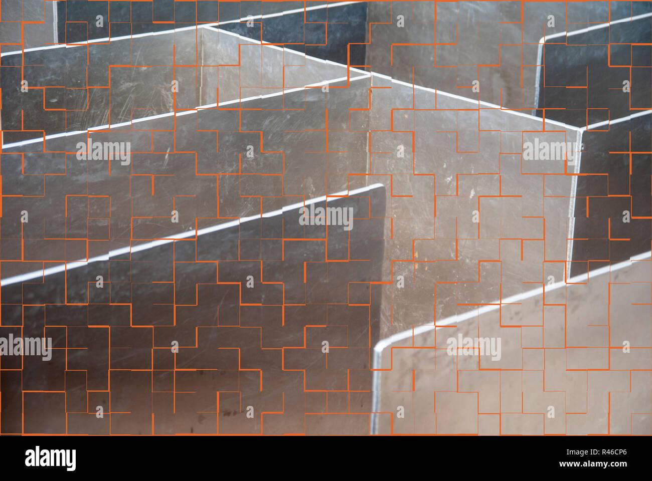 Metall Labyrinth mit Fliese Muster als Vorlage Stockbild