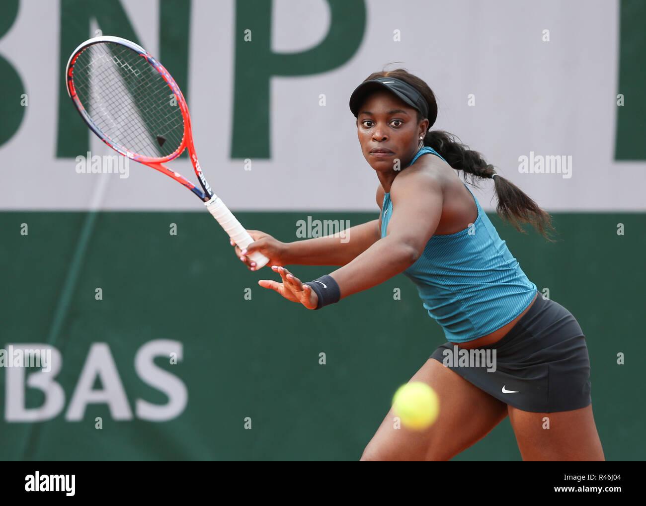 Amerikanische Tennisspieler Sloane Stephens in Aktion bei den French Open 2018, Paris, Frankreich Stockbild