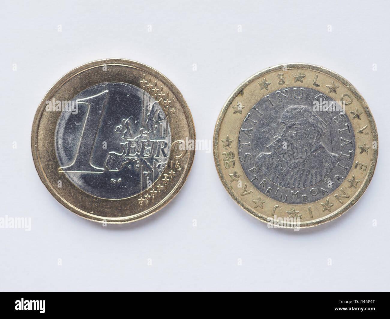 Slowenische 1 Euro Münze Stockfoto Bild 226342504 Alamy