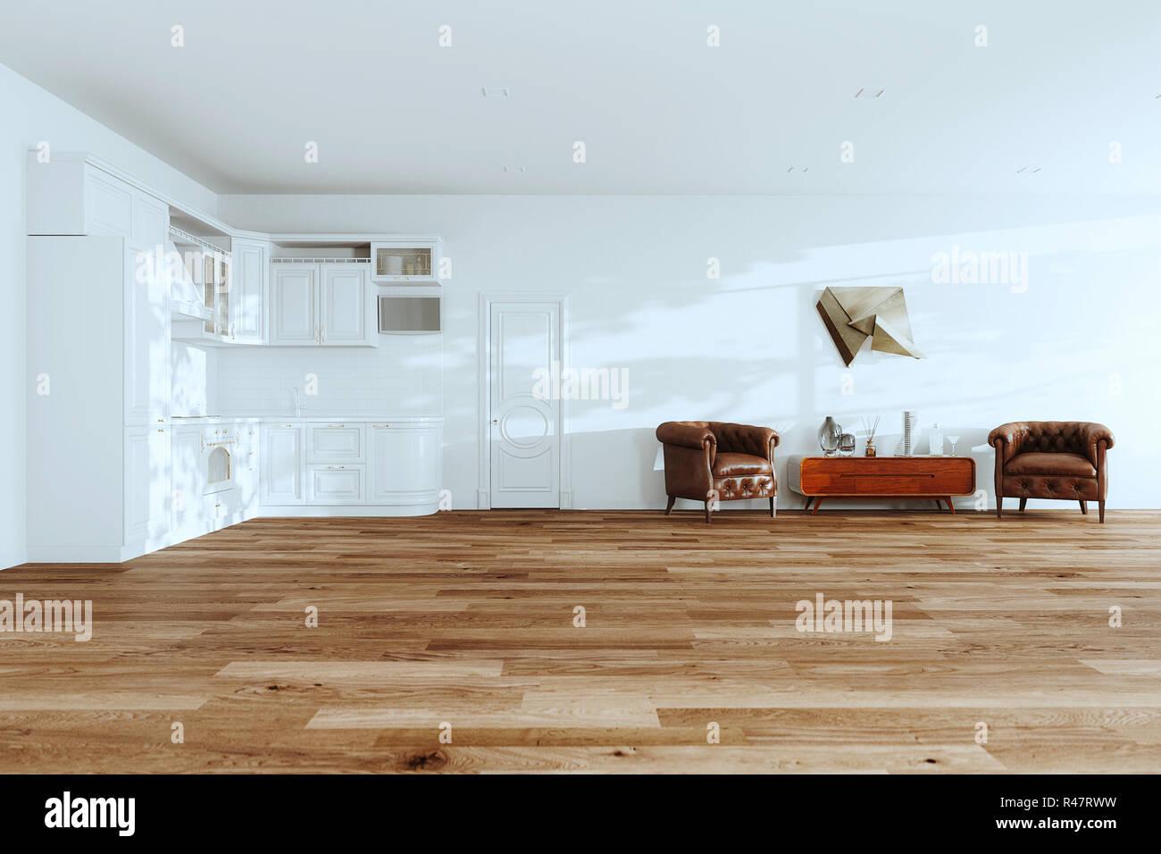 AuBergewohnlich Weiße Küche Innenraum Mit Leder Vintage Sessel, Holz Aus Der Mitte Des  Letzten Jahrhunderts Stehen Und Massivholzböden In Neuen Luxus Home  3D Rendering