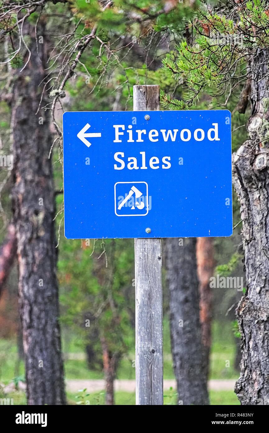 Nahaufnahme Von Einem Blauen Brennholz Verkauf Unterzeichnen
