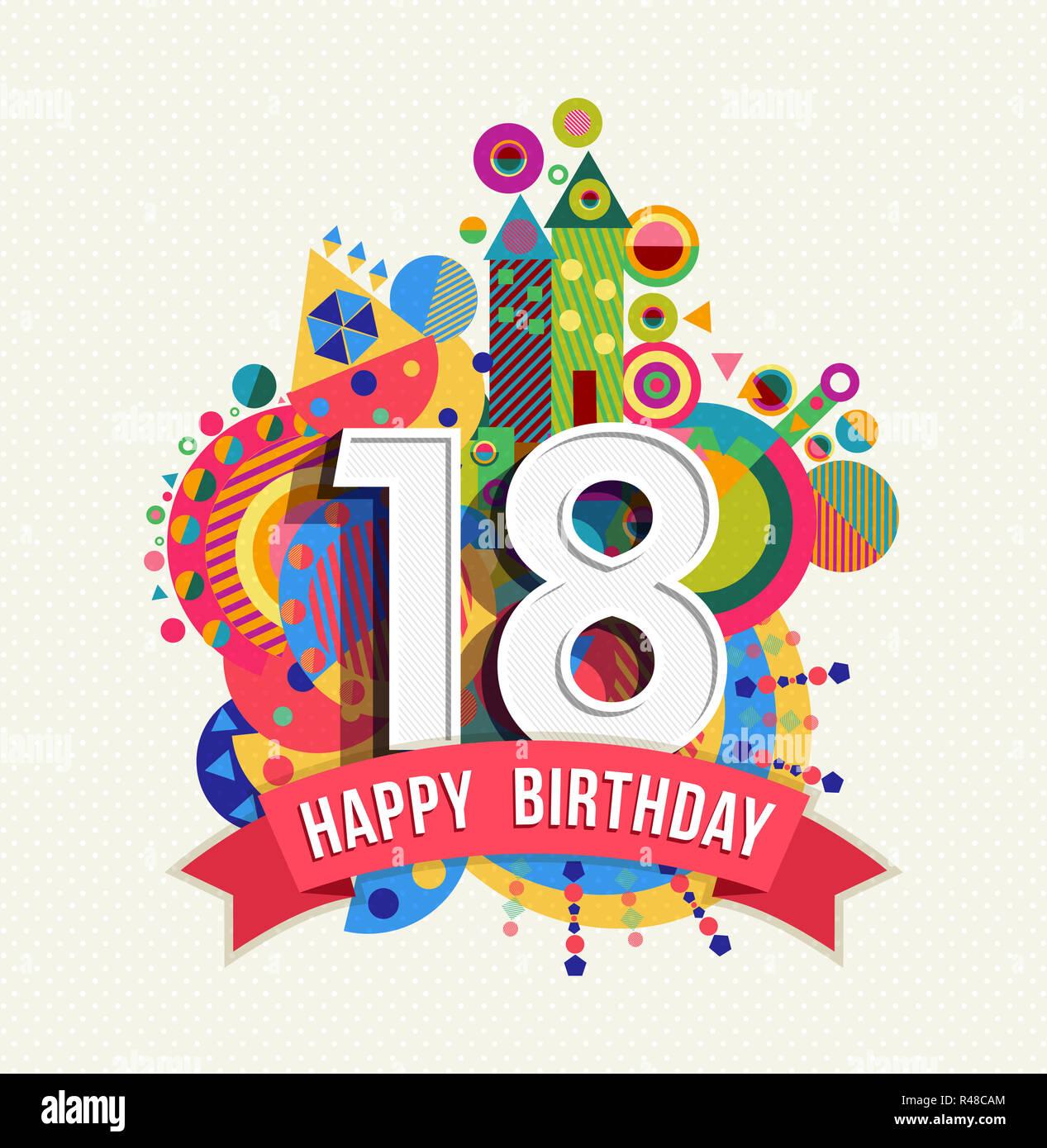 Happy Birthday 18 Jahre Grußkarte Poster Farbe Stockfoto