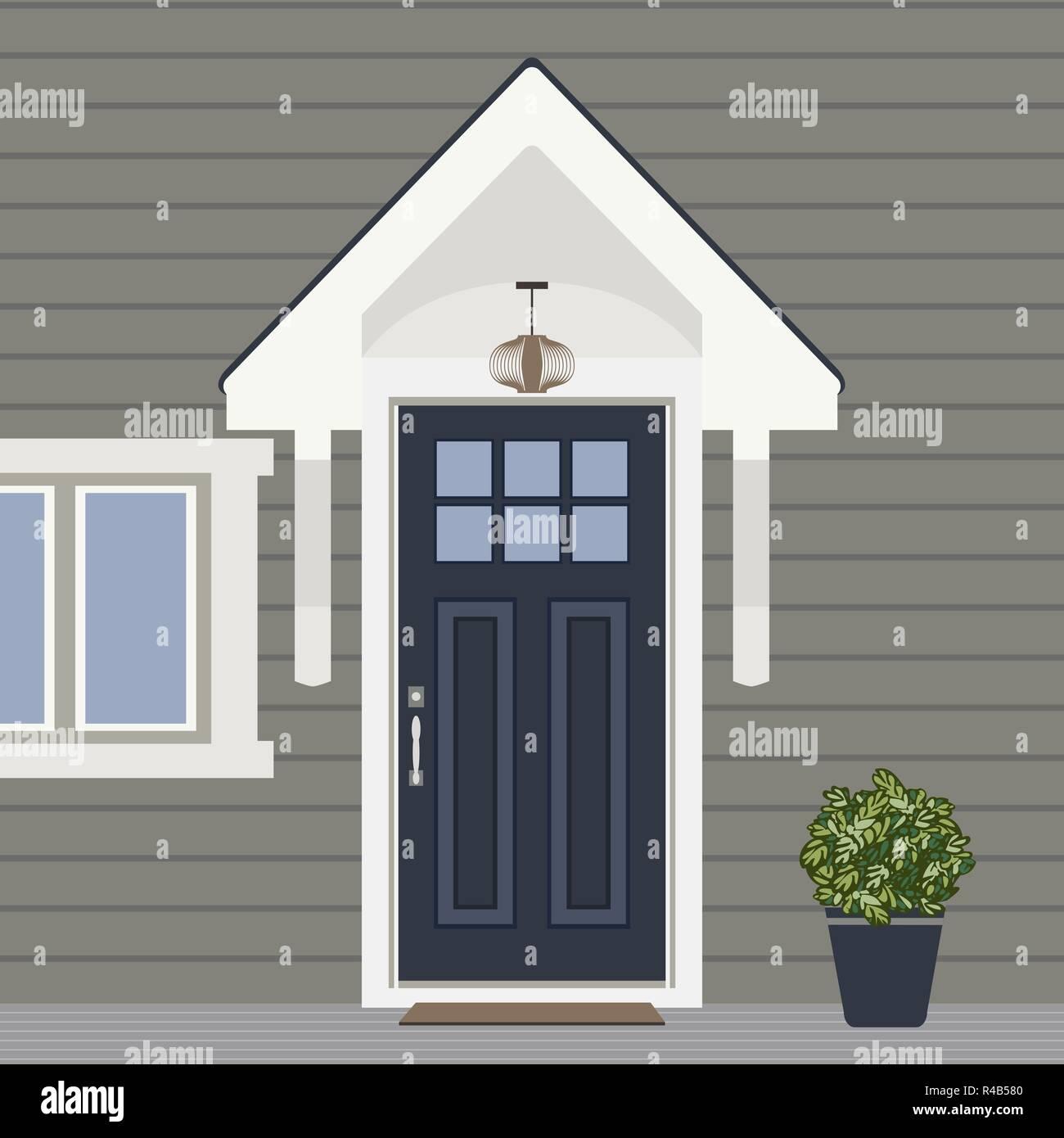 Haus Tur Vorne Mit Fenster Und Pflanzen Flat Gebaude Eintrag