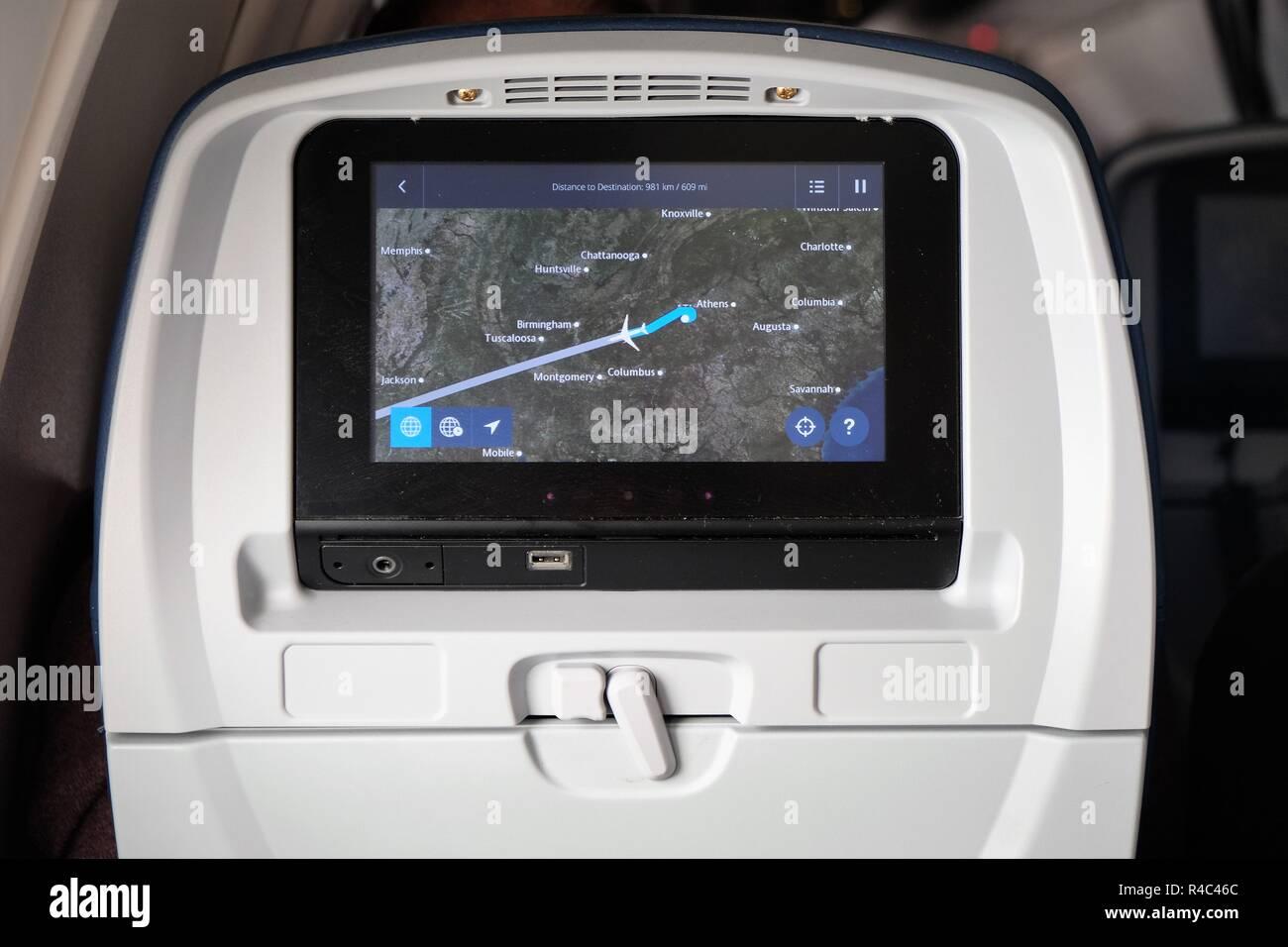 Flugzeugsitz Monitor Ein Flugzeug Fliegen West über Den Vereinigten