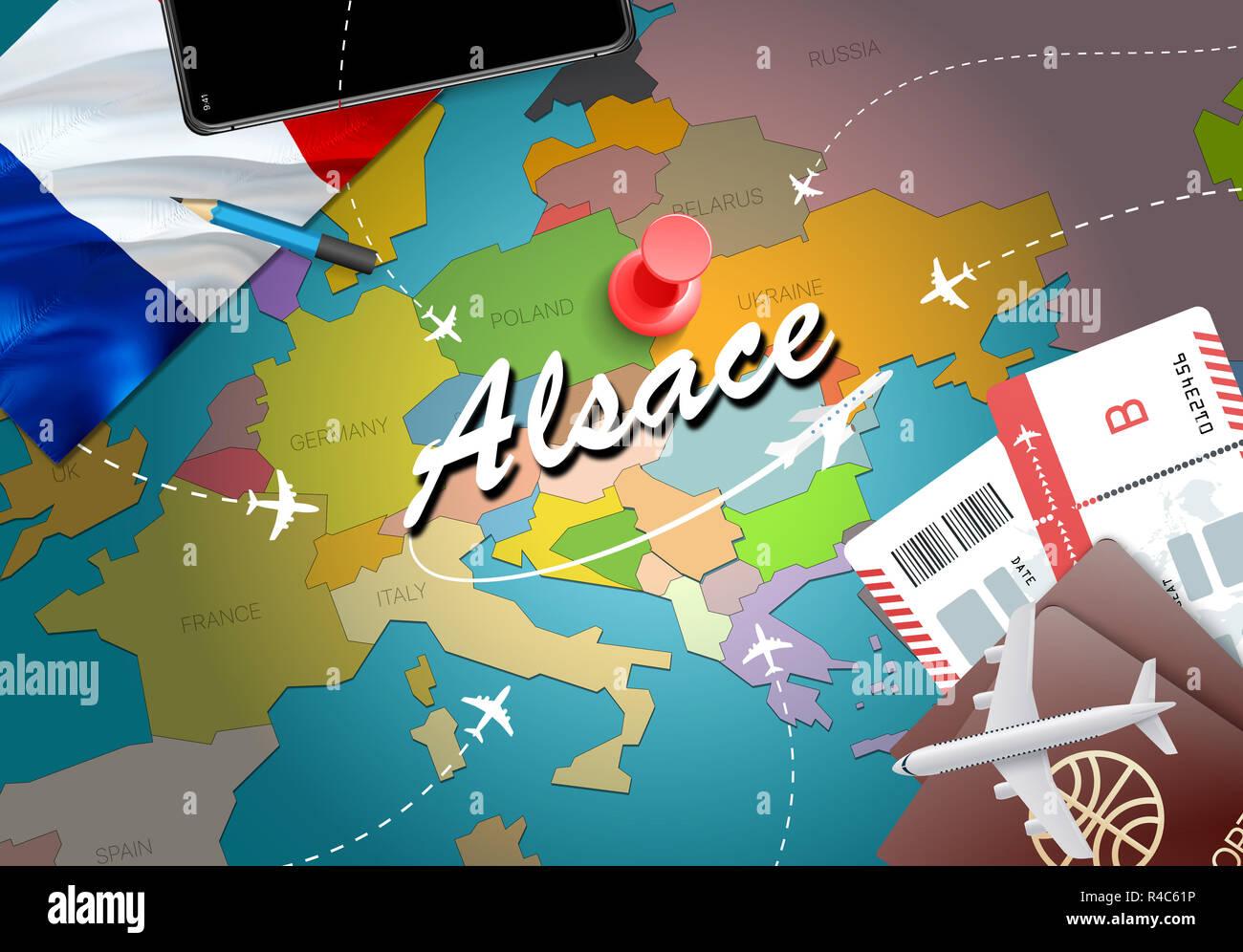 Elsass Karte Frankreich.Elsass Stadt Reisen Und Tourismus Ziel Konzept Flagge Frankreich