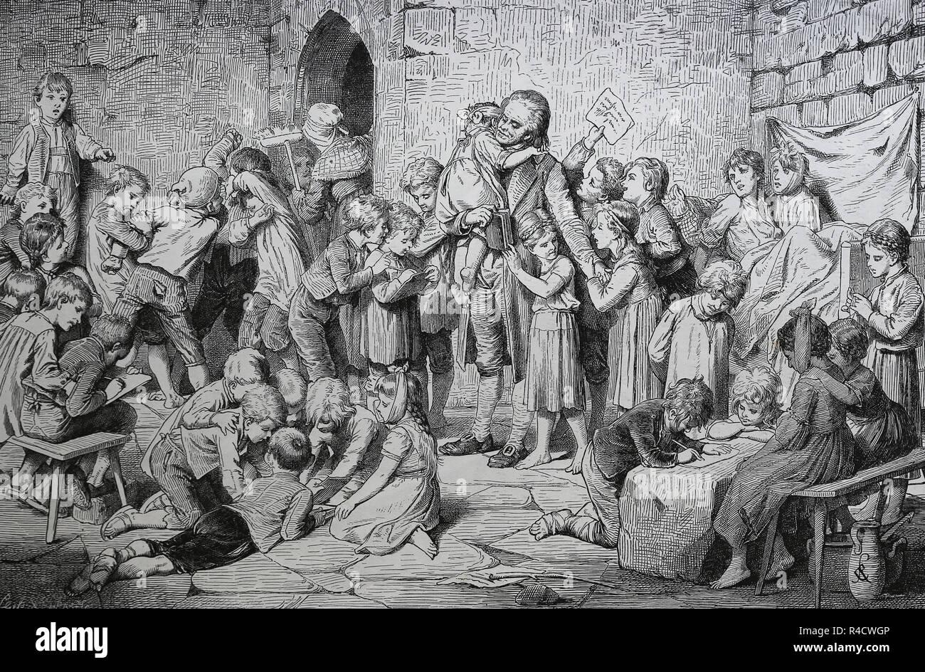 Johann Heinrich Pestalozzi (1746-1827). Schweizer Pädagoge. Besuch im Waisenhaus Nidwalden, Schweiz. Gravur, 1882. Stockbild