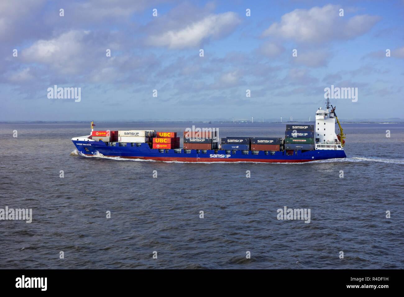 Samskip Innovator, Container schiff Segeln auf der Nordsee Stockbild