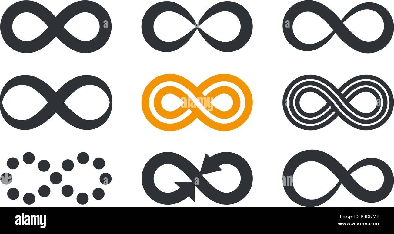 Infinity Symbole. Wiederholung und uneingeschränkte Zyklizität in verschiedenen Stil auf weißem Hintergrund. Stockbild