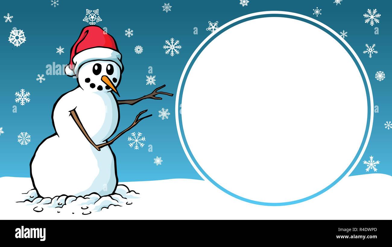 Weihnachten Verkauf Cartoon Schneemann Design Werbung Vorlage