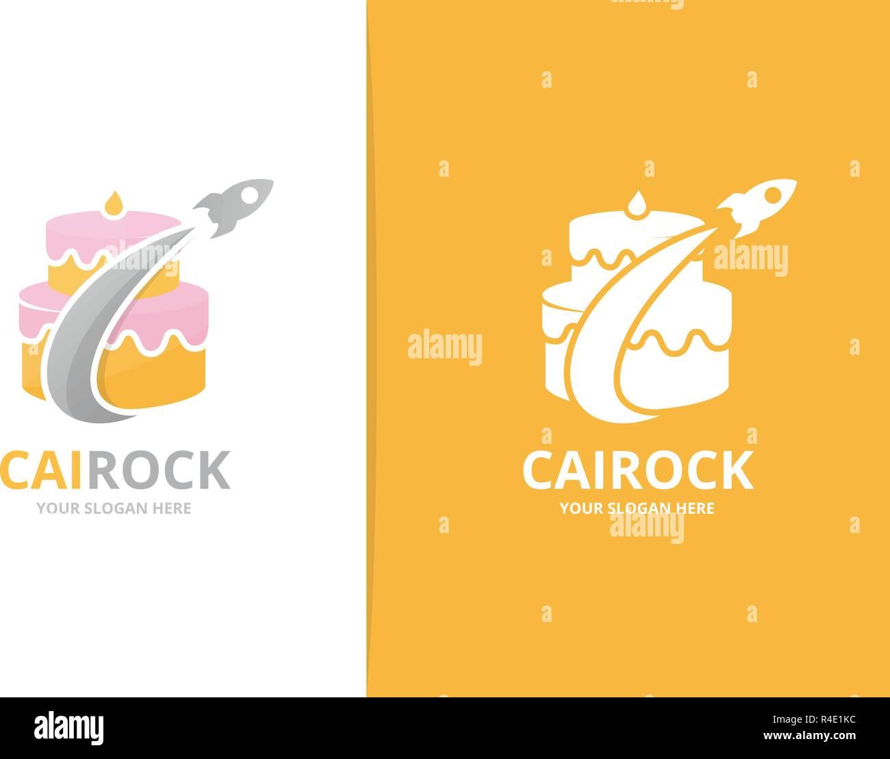 Vektor Kuchen Und Rakete Logo Kombination Pie Und Flugzeug Symbol