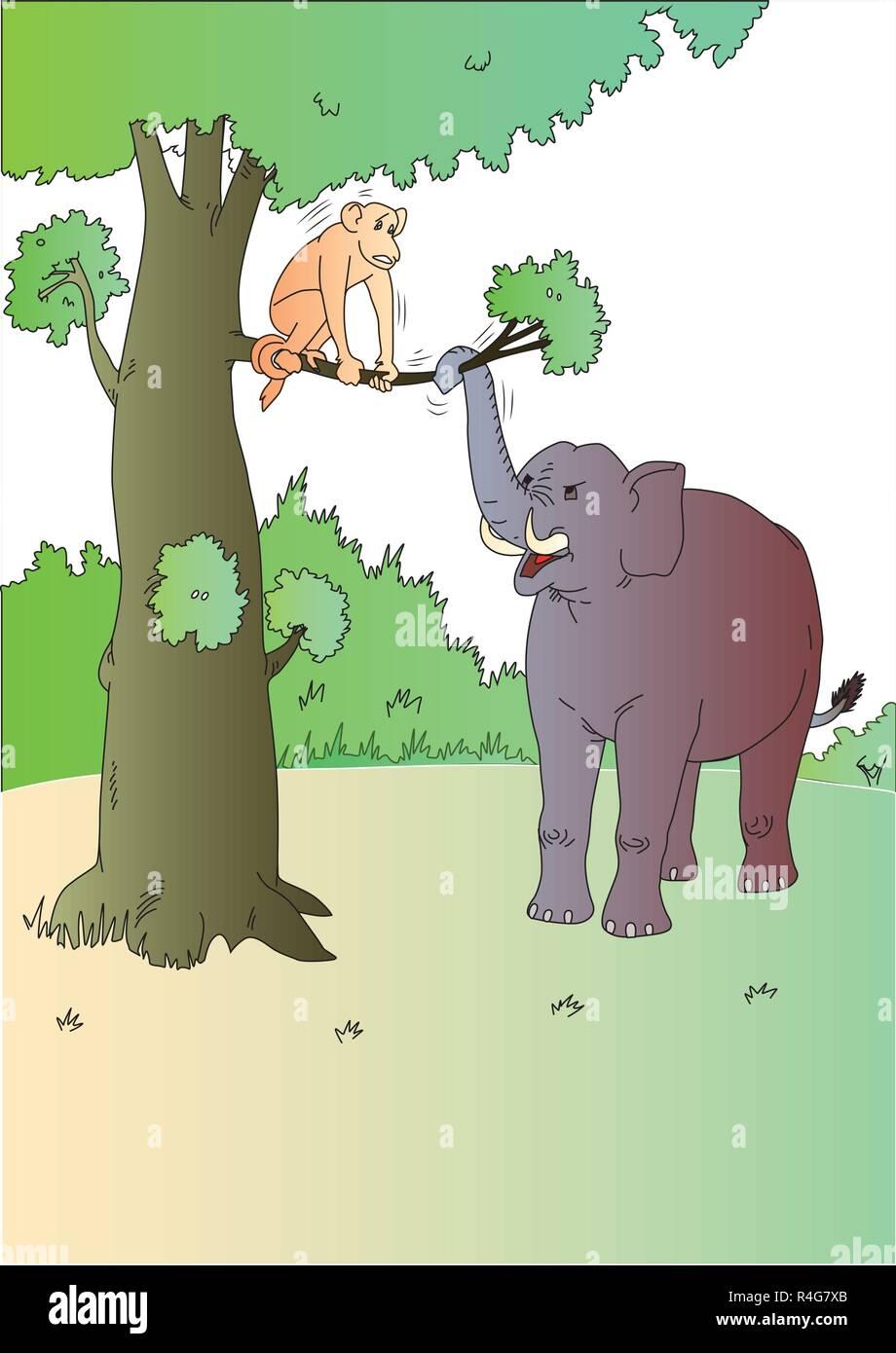 Clipart Tiere Elefanten Und Affen Vektor Abbildung Bild 226550867