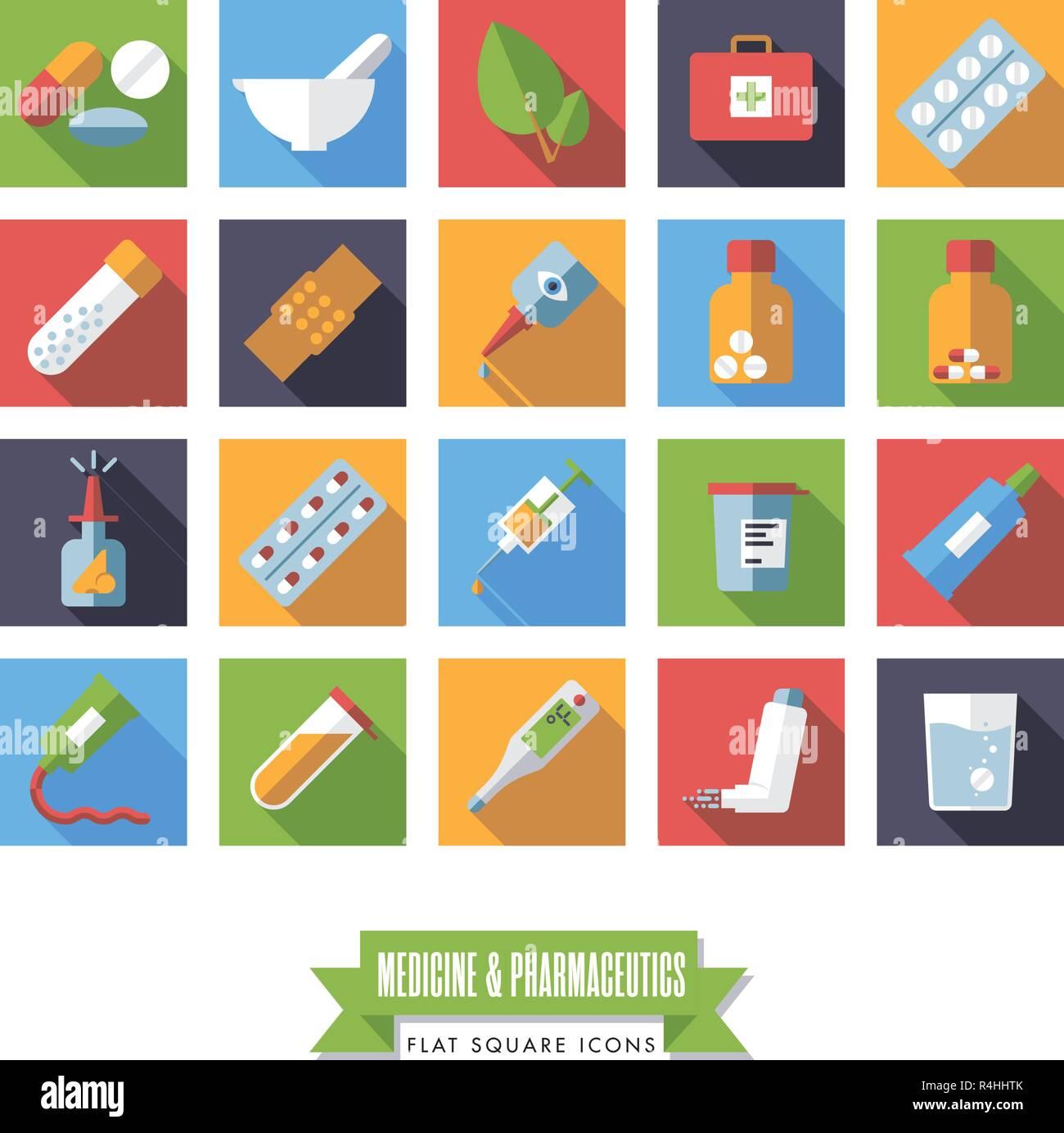 Sammlung von flachen Design lange Schatten Platz Medizin und Pharmazie Symbole Stockbild