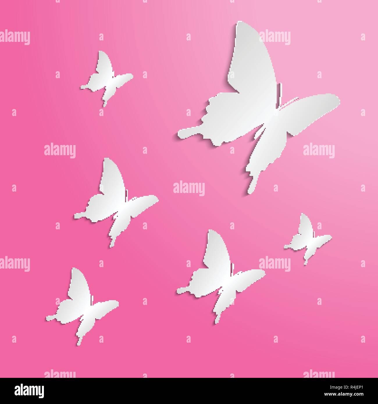 Schmetterlinge Papier Auf Die Farbe Hintergrund Ausschneiden