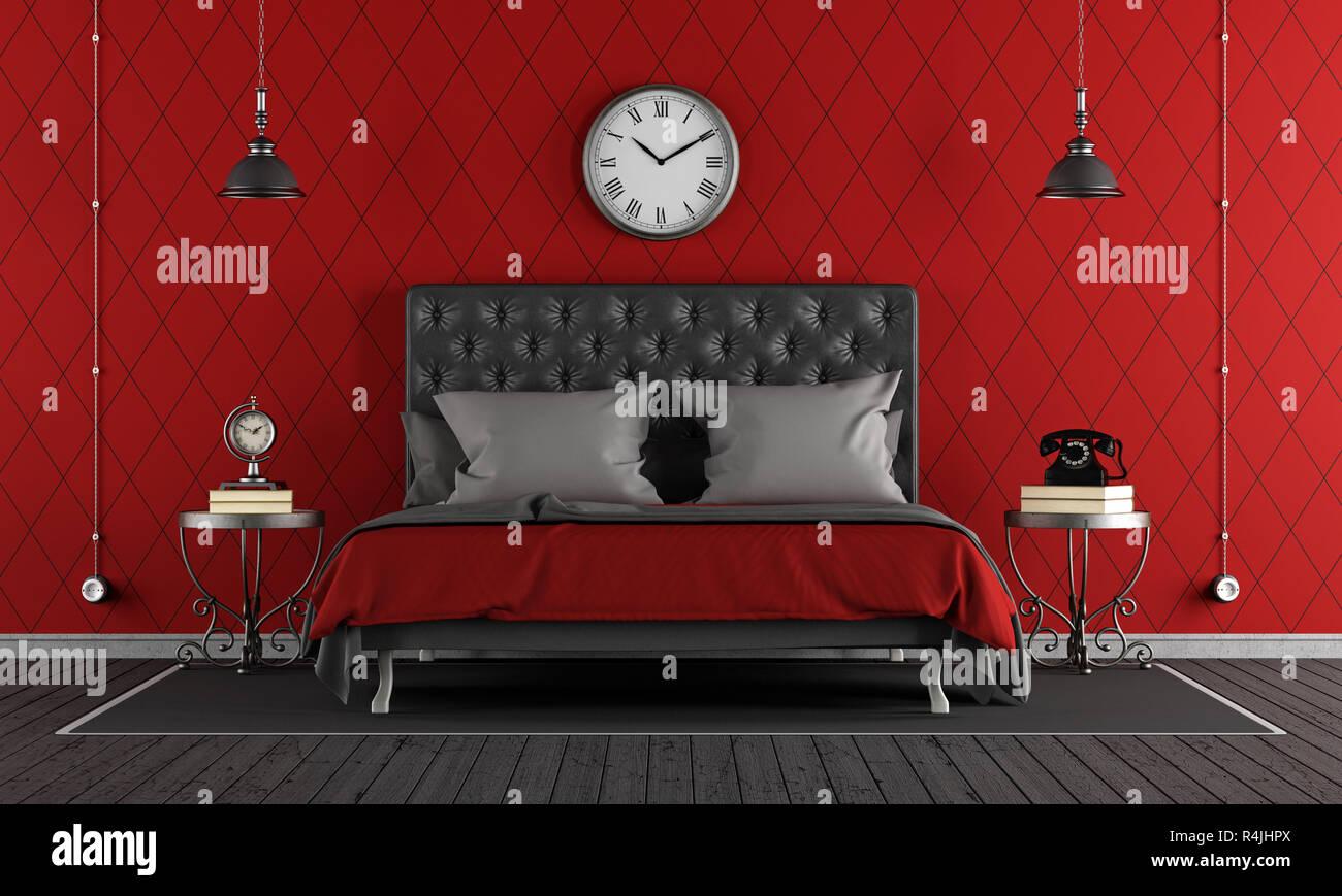 Schwarz Und Rot Klassische Schlafzimmer Stockfoto Bild 226602514