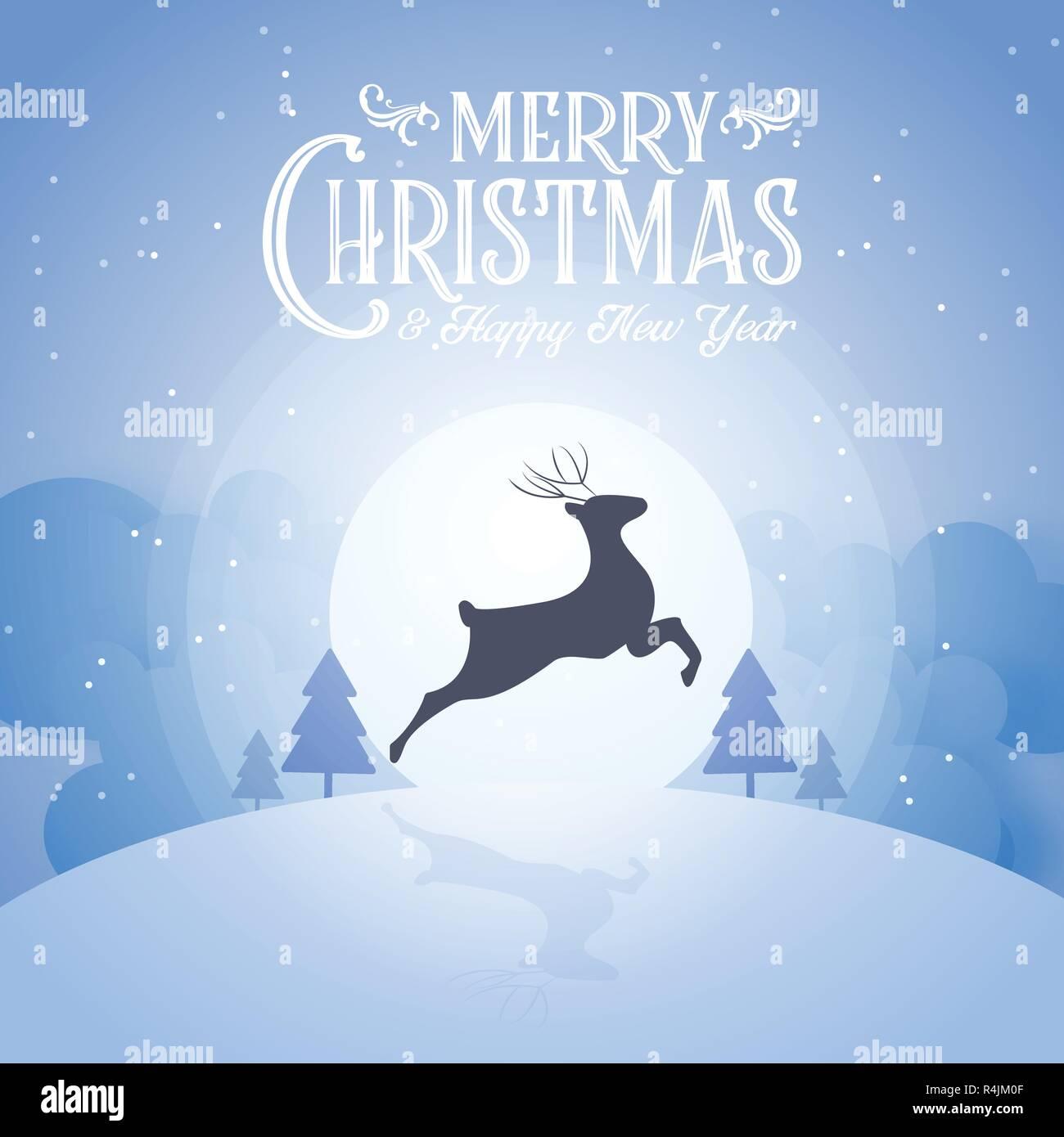 Frohe Weihnachten Und Happy New Year.Frohe Weihnachten Verschneite Nacht Und Happy New Year Festival Ende