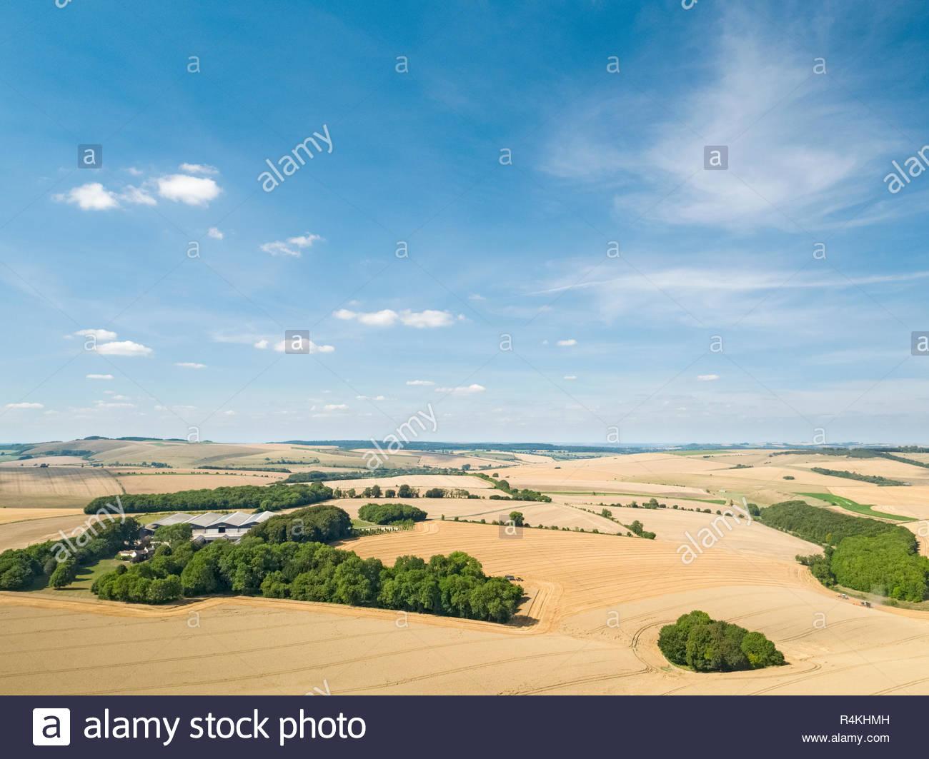 Antenne Landschaft des Sommers Bauernhof Weizen und Gerste Feld ernten Stockfoto