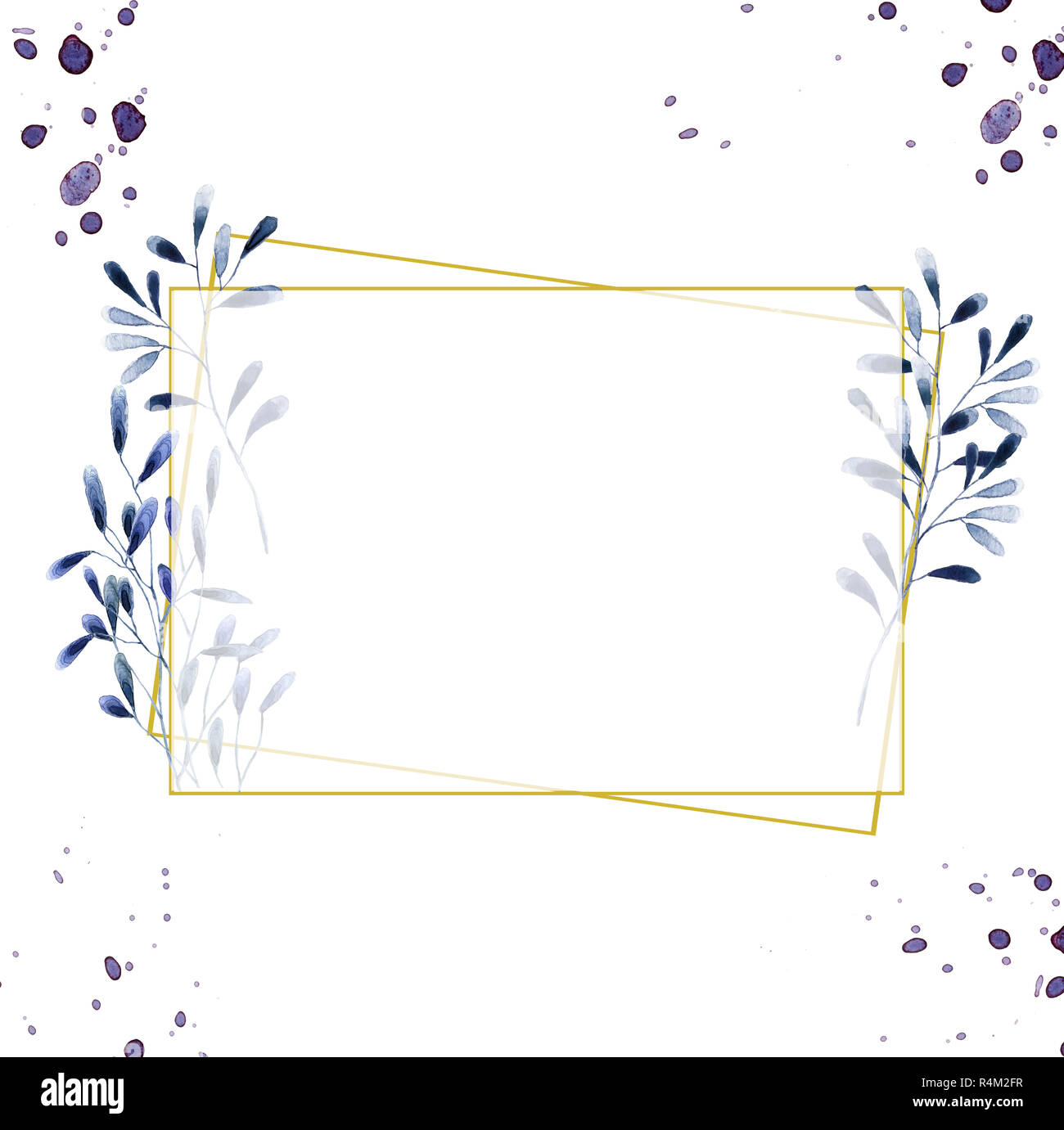 Hochzeit einladung floral einladen karte olive floralen und magnolia geometrische goldene rahmen drucken rhombus rechteck frame weißer hintergrund