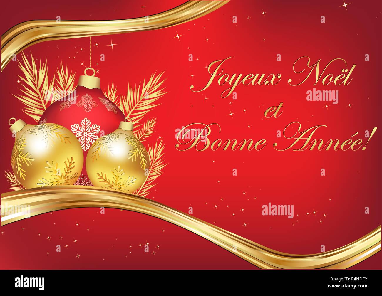 übersetzer Frohe Weihnachten.Französische Grußkarte Für Weihnachten Und Das Neue Jahr Mit