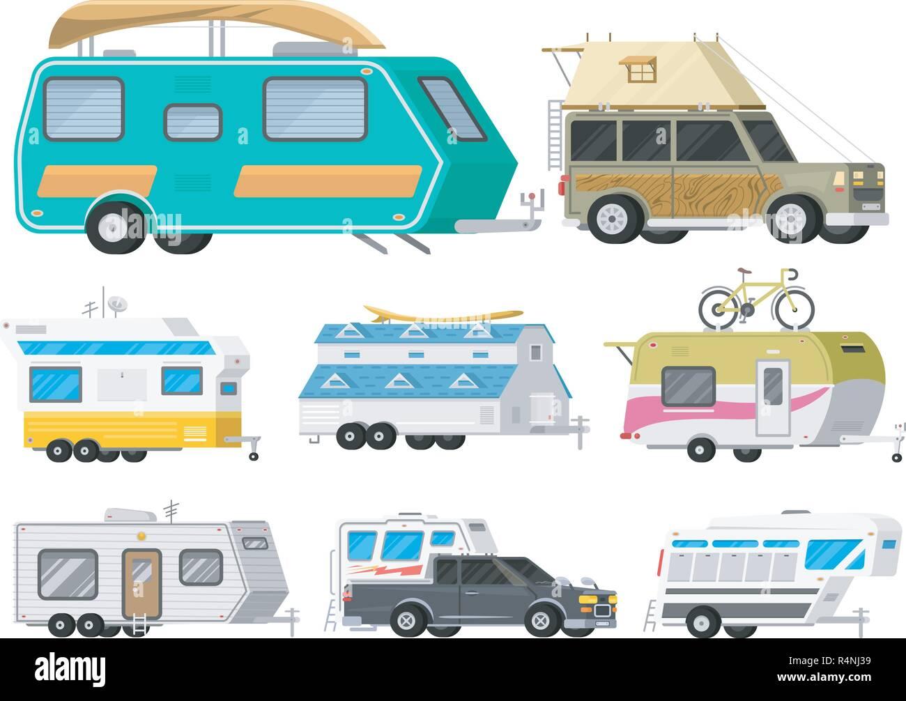 Eine Reihe Von Anhangern Oder Familie Rv Camping Caravan