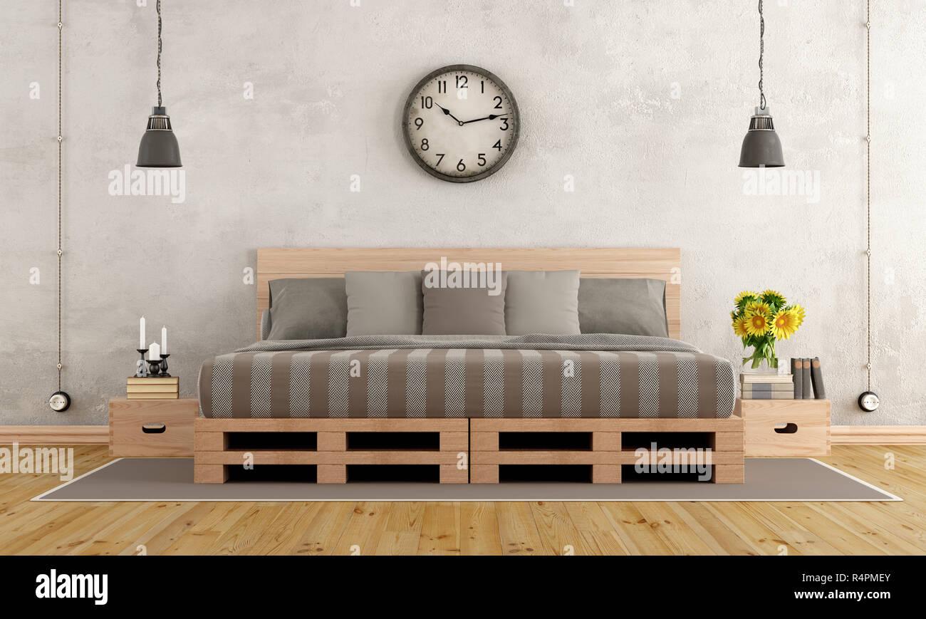 Schlafzimmer im rustikalen Stil Stockfoto