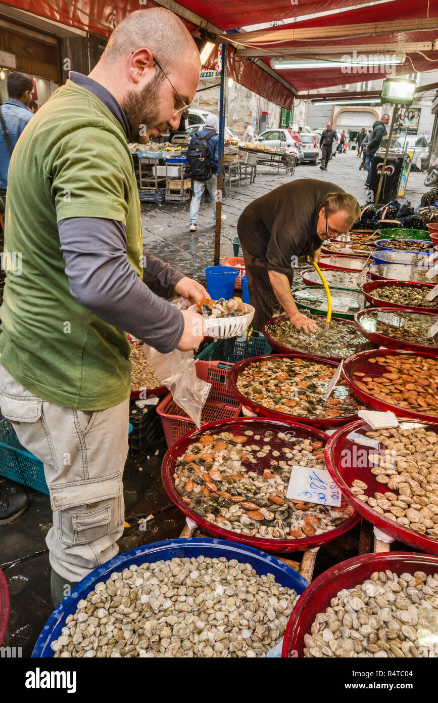 Fischhändler in der Via Sopramuro, Mercato di Porta Nolana Viertel, Neapel, Kampanien, Italien Abschaltdruck Stockbild