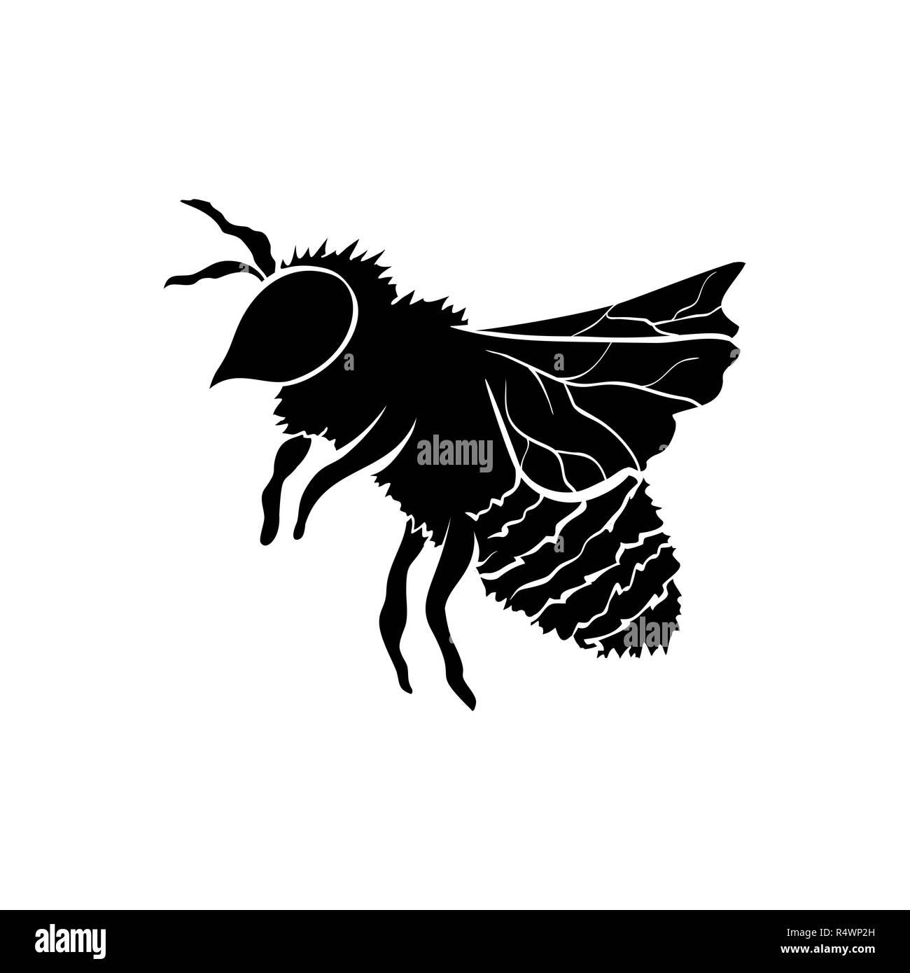 Honey Bee Silhouette Logo Design Isolierte Vektor Schwarz