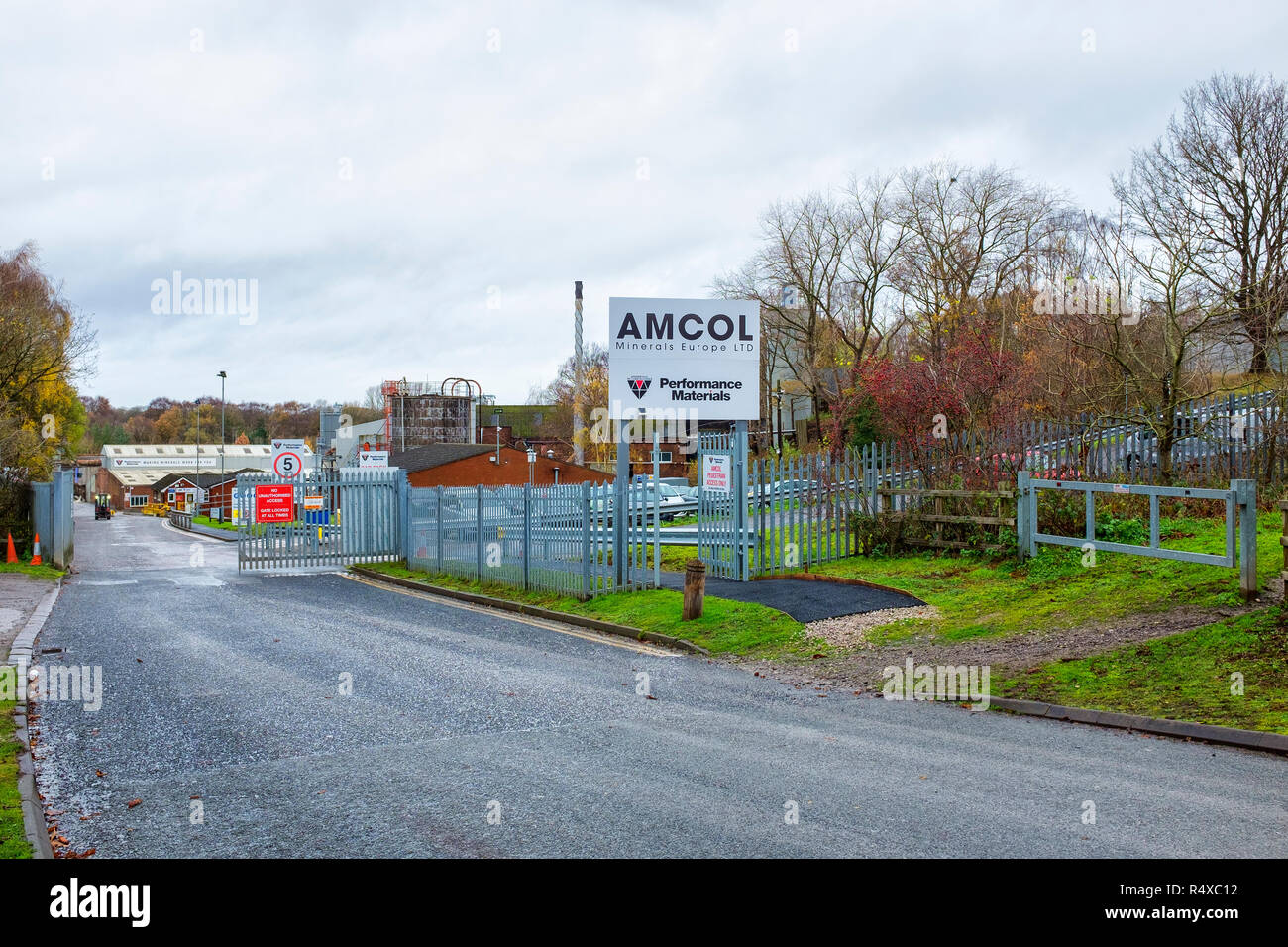 Amcol Mineralien Europe Ltd. in Winsford Cheshire UK Stockbild