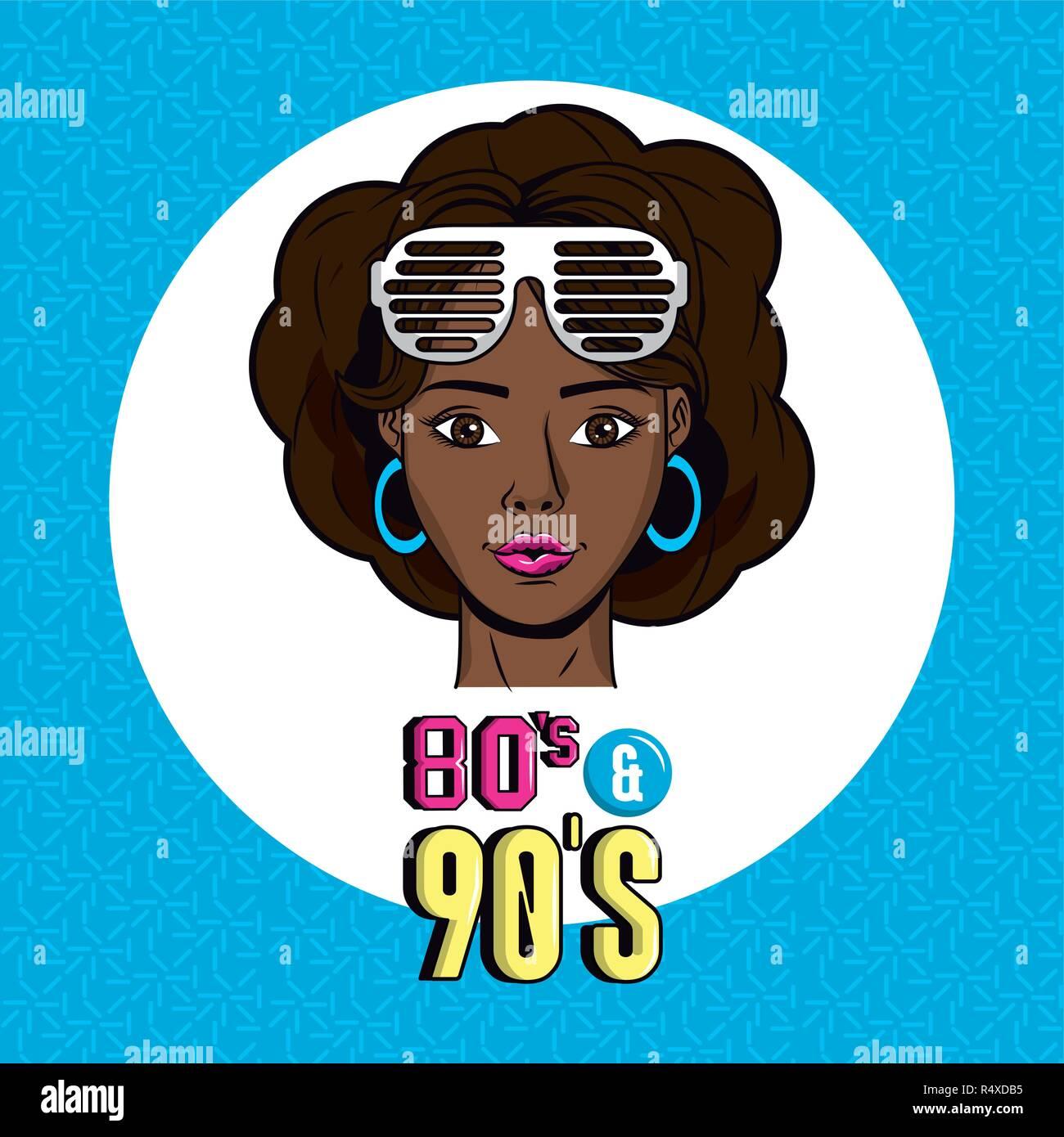 80er und 90er Jahre Stil Stockbild