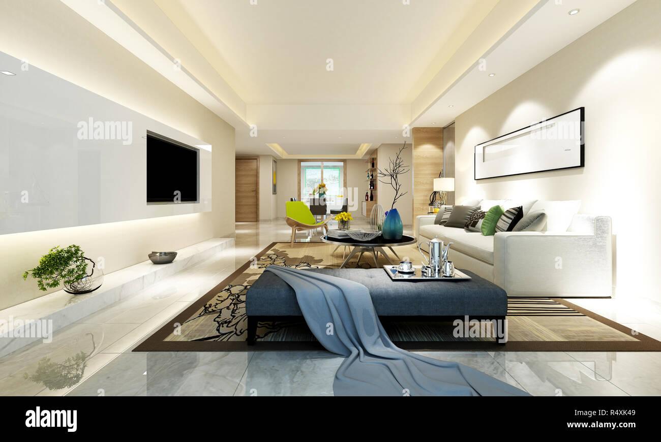 3d Render Von Luxus Haus Innen Stockfotografie Alamy