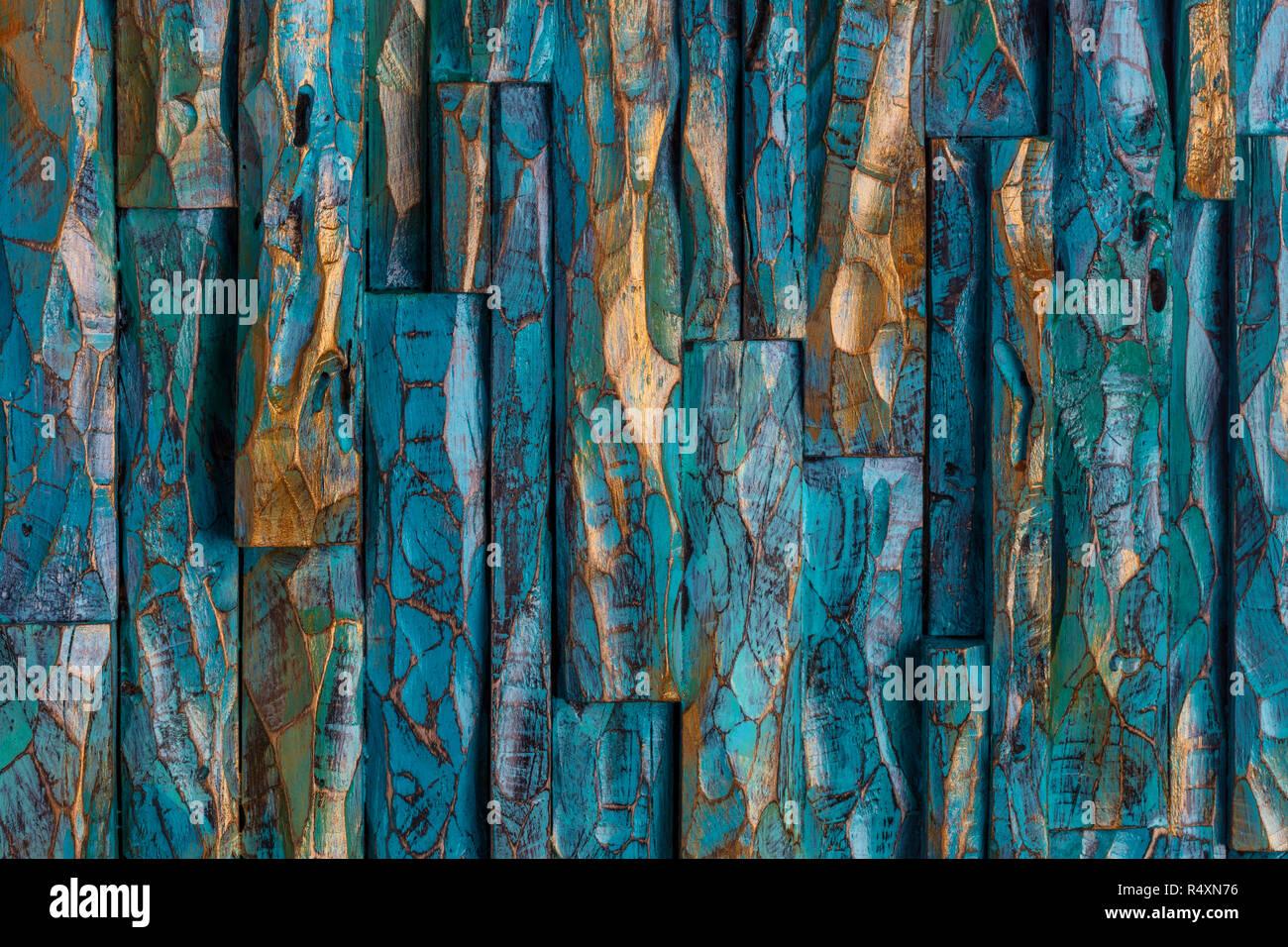 Golden Und Blau Schnitzen Holz Malen Handgefertigte Stockfoto Bild