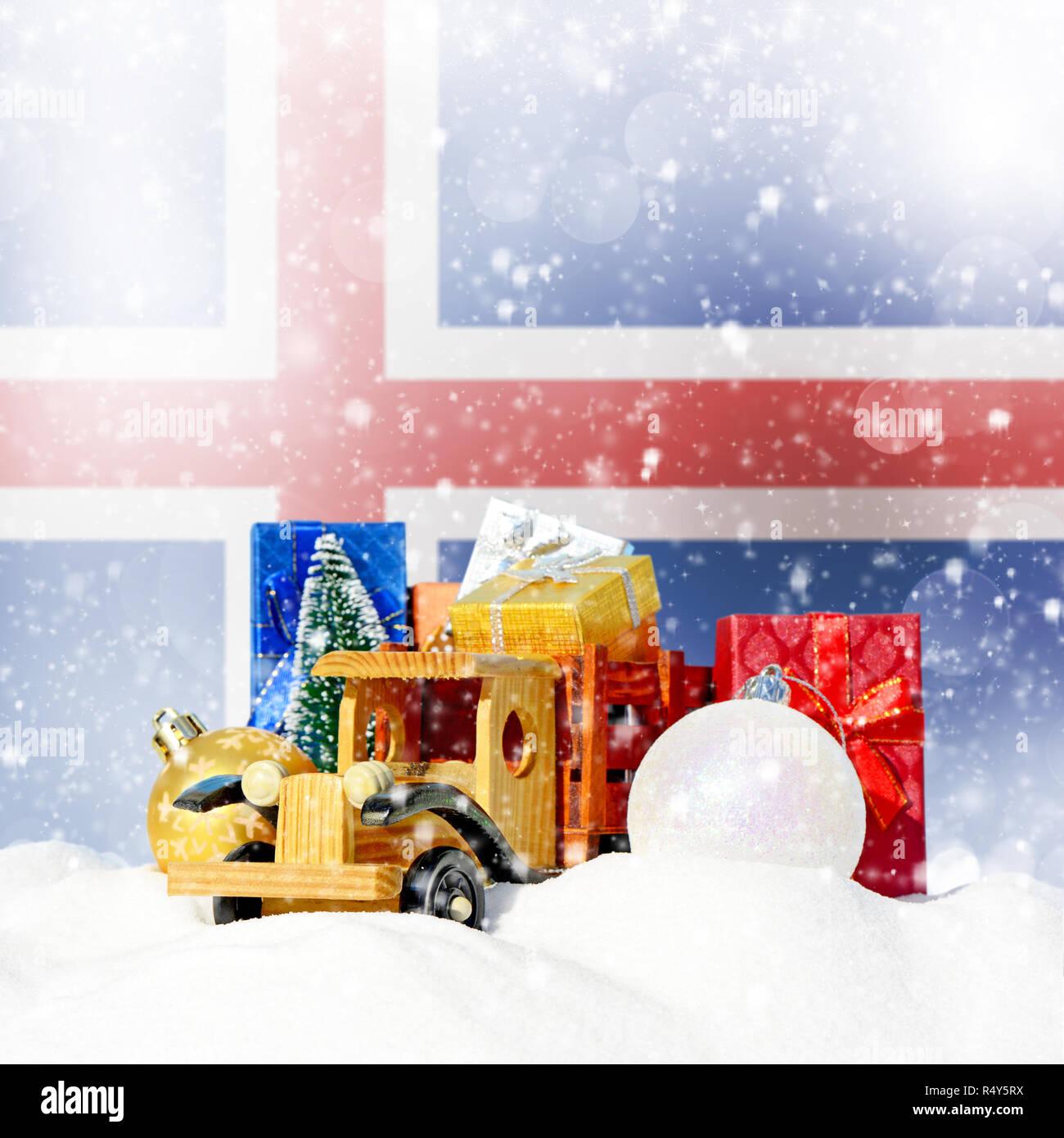Isländisch Frohe Weihnachten.Weihnachten Hintergrund Spielzeug Lkw Mit Geschenken Neues Jahr