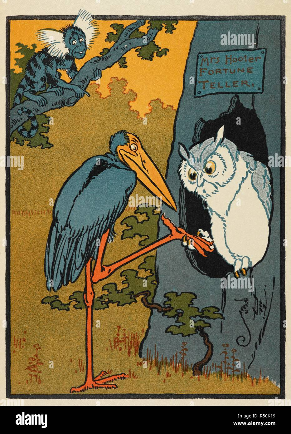 Eine Eule als Wahrsagerin. . Denslow der Vogelscheuche und dem Tin-Man und andere Geschichten. [Mit Illustrationen des Autors.]. T. Fisher Unwin: London; New York [Druck], [1904]. Quelle: 12812. d. 19. Autor: Leason, Percy Alexander. Stockbild