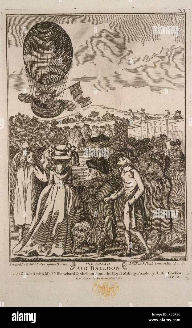 Der Grand Ballon. Jean-Pierre Blanchard und John Sheldon aufsteigend in einem Ballon auf den 16. Oktober, 1784. Eine Sammlung von breitseiten, Stecklinge von newspape. 1780?-1810?. Der Grand Ballon, wie er auffuhr mit den Herren Blanchard & John Sheldon, von der Royal Military Academy, ein wenig Chelsea, 16. Okt. 1784. Jean Pierre Français ois Blanchard (1753-1809), eine französische Ballonfahrer, der Erfinder des Fallschirms, war bei La Haye mit einer getötet. Er war der erste Mensch, mit John Jeffries, ein Amerikaner, der den Ärmelkanal von Ballon zu überqueren, von Dover nach Calais im Jahr 1785. Bild aus einer Sammlung von b genommen Stockfoto