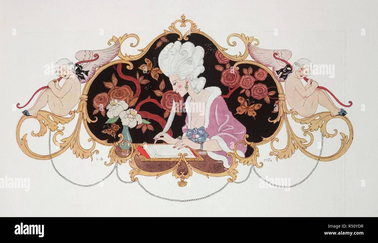 Eine Frau Einen Brief Schreiben 18 Oder 19 Jahrhundert Kleid L