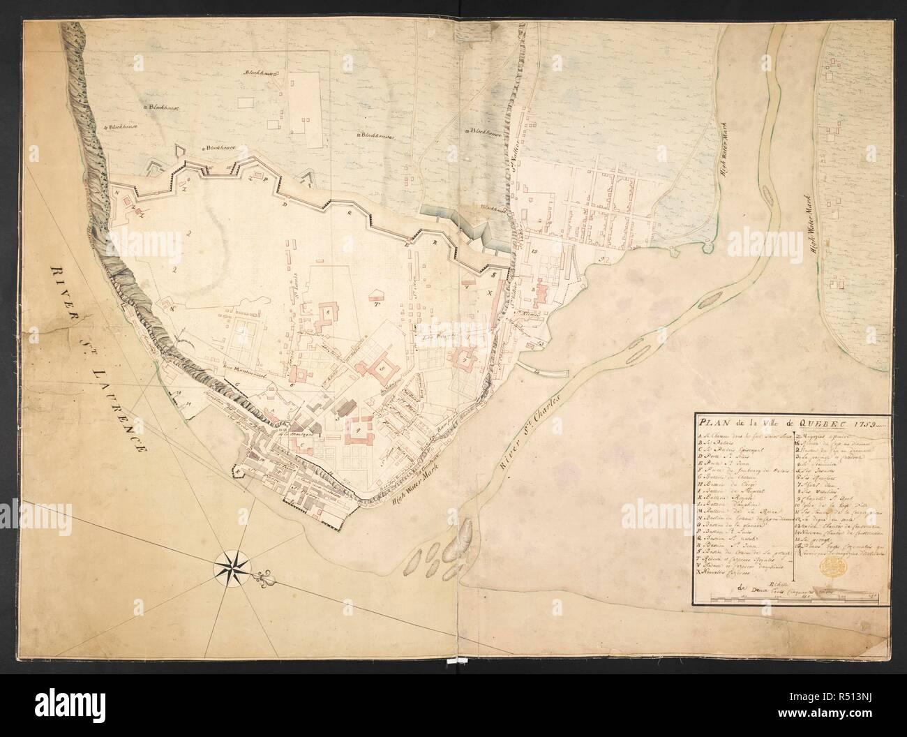 Quebec Karte.Ein Manuskript Karte Der Stadt Von Quebec Einschließlich