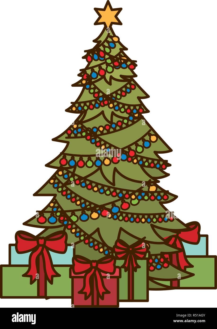 Symbol Weihnachtsbaum.Weihnachtsbaum Mit Geschenken Isolierte Symbol Vektor Abbildung