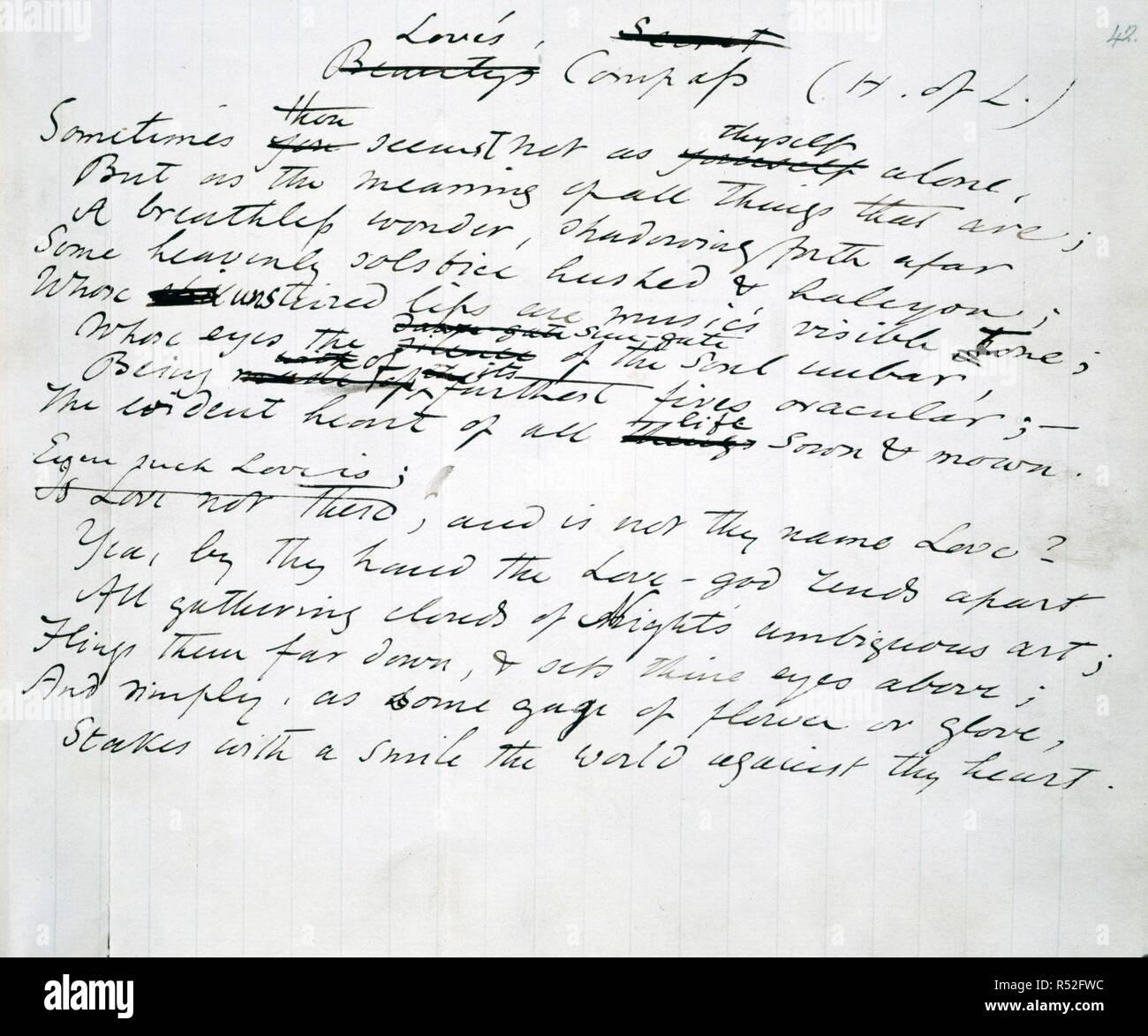 Sonett Von Dante Gabriel Rossetti England 1871 Ganze Folio