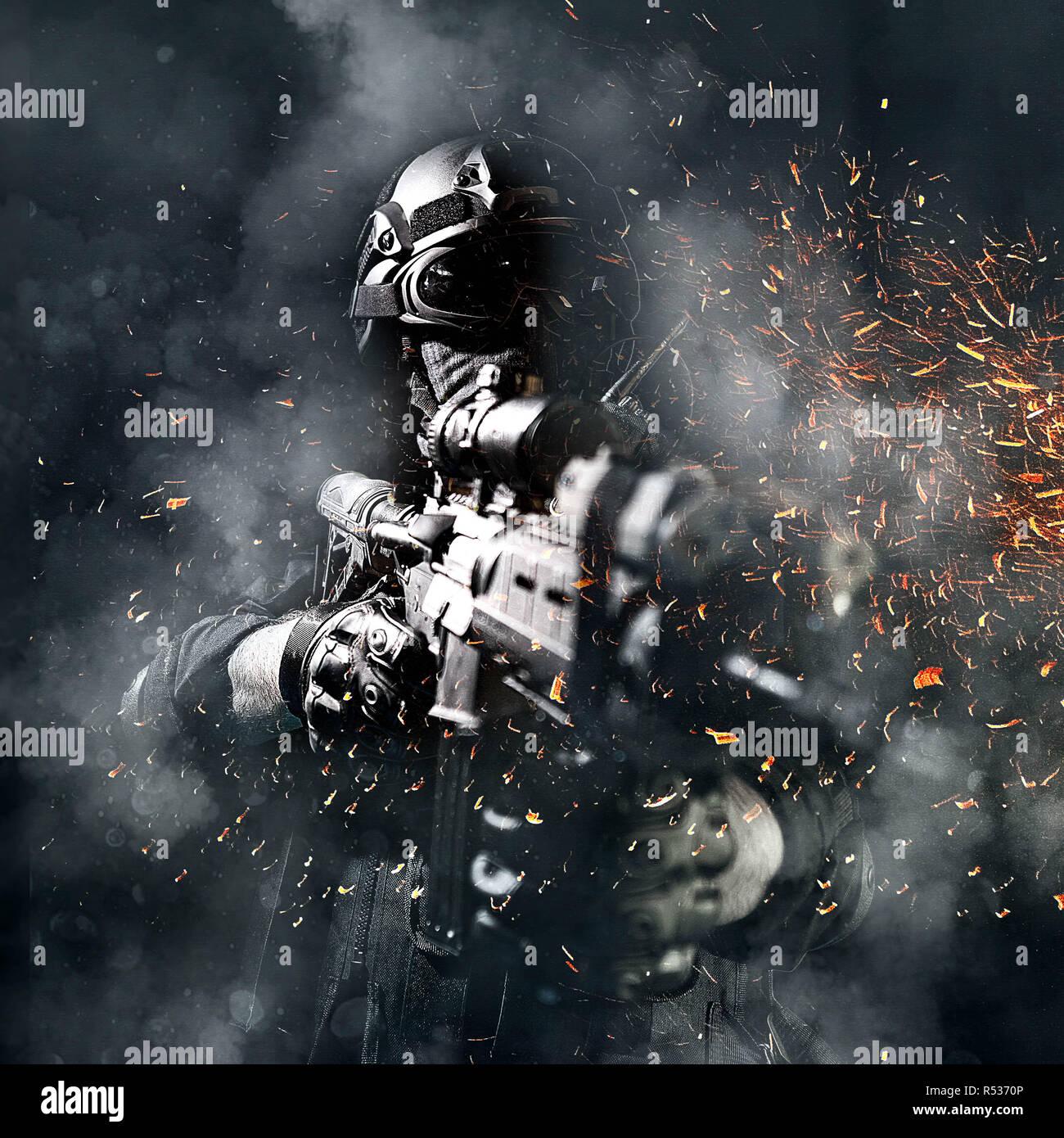 Special forces Soldat Polizei, SWAT-Team Mitglied Stockfoto