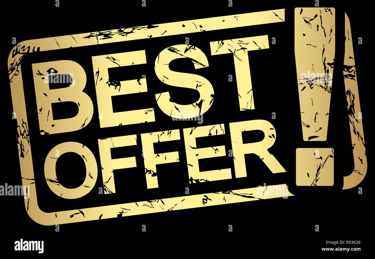 Gold Stempel Mit Text Das Beste Angebot Stockfoto Bild 226888878