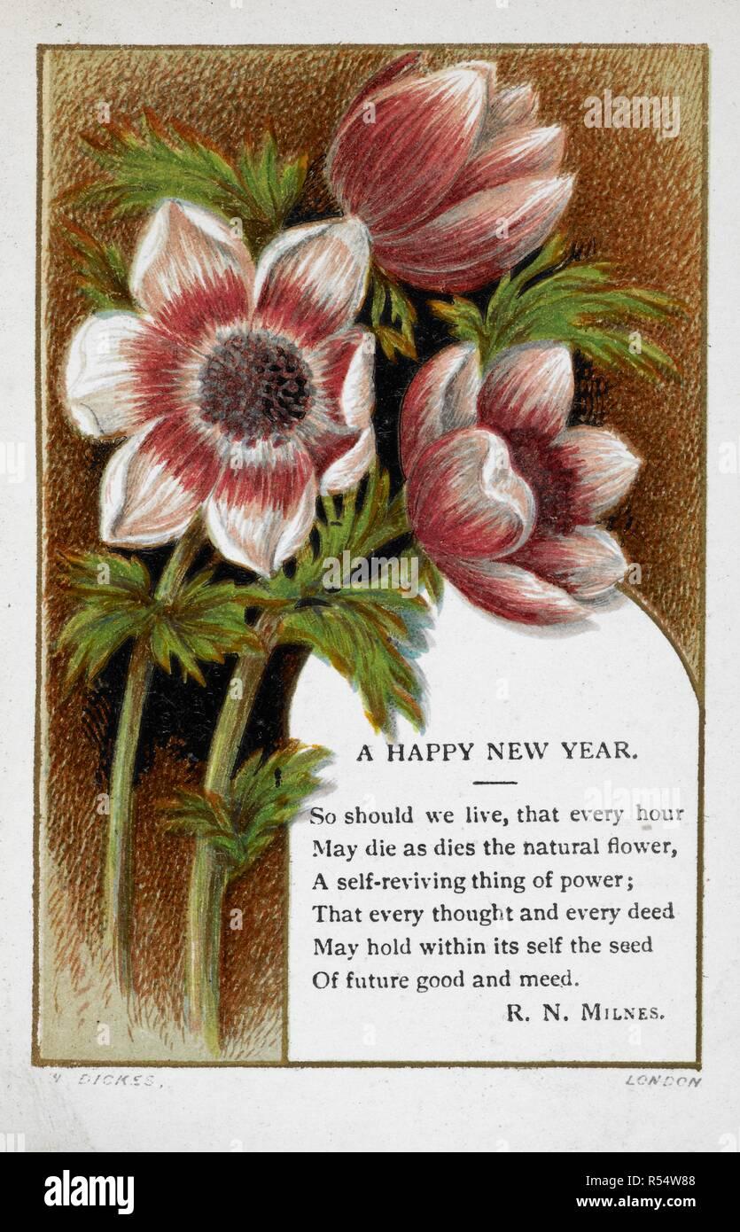 Neujahrsgrüße Karte Mit Blumenschmuck Und Gedicht Von Rn