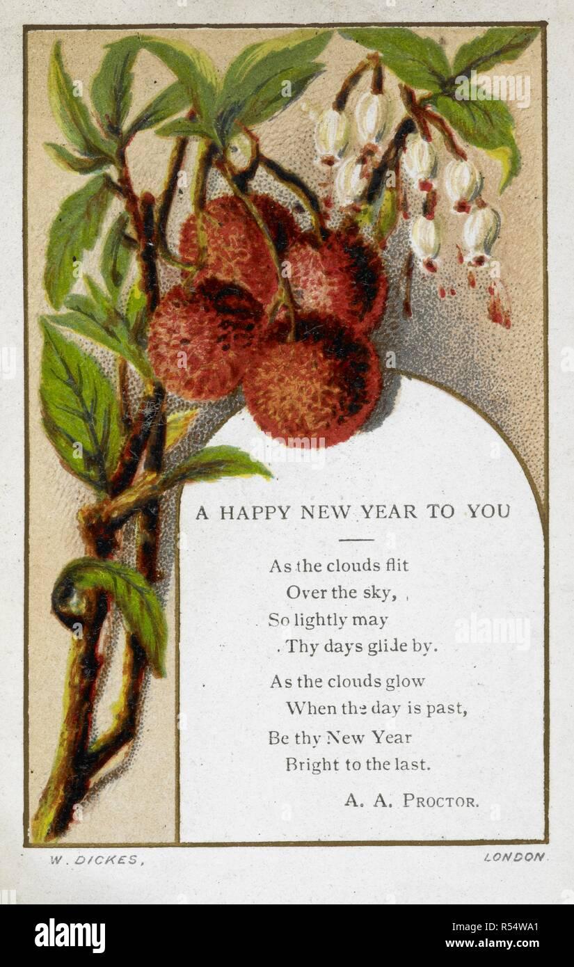 Neujahrsgrüße Karte Mit Blumen Und Obst Dekoration Und