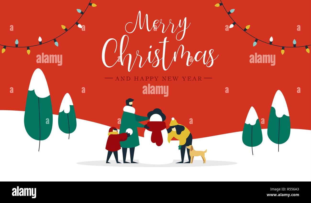 Frohe Weihnachten Familie.Frohe Weihnachten Frohes Neues Jahr Winter Abbildung Familie Mit