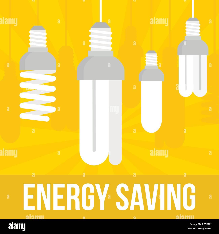 Energiesparlampe Konzept Hintergrund. Flache Abbildung: Energiesparlampe vektor Konzept Hintergrund für Web Design Stock Vektor