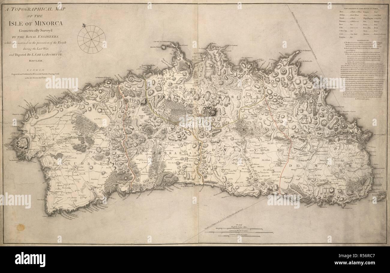 Insel Menorca Karte.Eine Topographische Karte Der Insel Menorca Eine