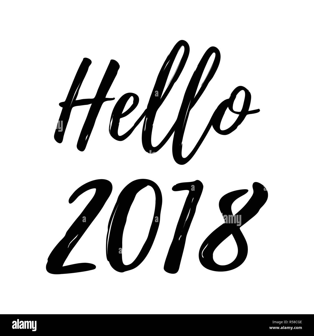 Weihnachtskarte Mit Kalligraphie Hallo 2018 Vorlage Für